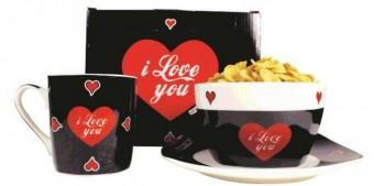 2432 CONJ PORC CAFE MANHA I LOVE YOU(PRATO+CANECA+POTE)