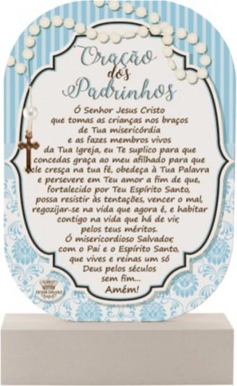 P17145 MADEIRINHA ORAÇÃO DOS PADRINHOS AZUL 20X12