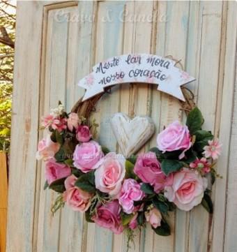 7408 Guirlanda flores 43cm coracao rosas mistas neste..