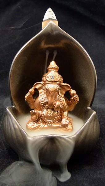 42-195 Incensário Flor de Lótus com Ganesha